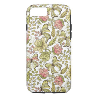 floral pattern with flowers and butterflies iPhone 7 case