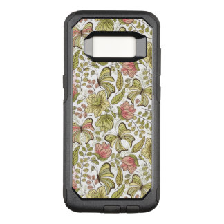 floral pattern with flowers and butterflies OtterBox commuter samsung galaxy s8 case
