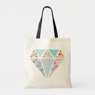 Floral patterns modern diamond shape budget tote bag