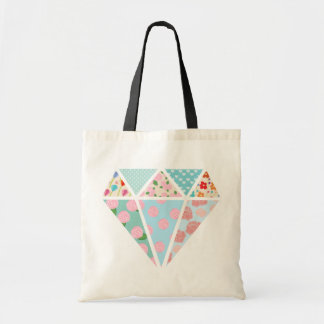 Floral patterns modern diamond shape tote bag
