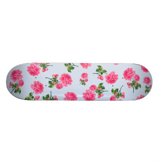 Floral patterns: pink roses on baby blue skateboards
