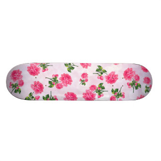 Floral patterns: pink roses on pink bokeh custom skateboard