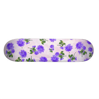 Floral patterns: purple roses on pink bokeh skate board deck