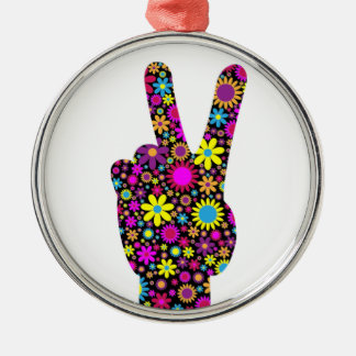 FLORAL PEACE HAND SIGN METAL ORNAMENT