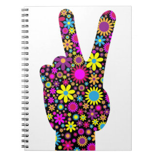 FLORAL PEACE HAND SIGN NOTEBOOK