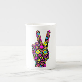 FLORAL PEACE HAND SIGN TEA CUP