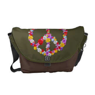 Floral Peace Sign Commuter Bag