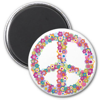 Floral Peace Sign Magnet