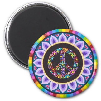 Floral peace sign magnet by Soozie Wray