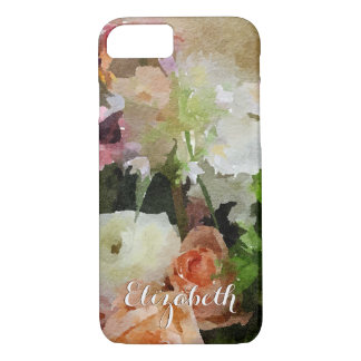 Floral Peach and Green Watercolor Custom iPhone 7 Case
