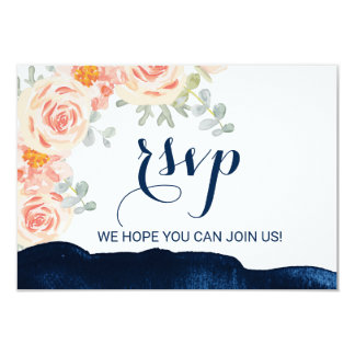Floral Peach and Navy Watercolor Menu Choice RSVP Card