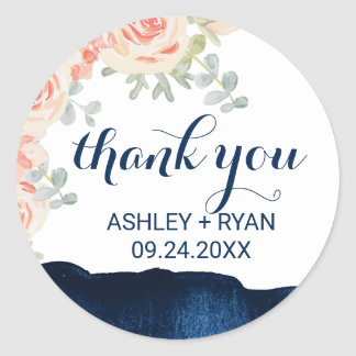 Floral Peach and Navy Watercolor Thank You Favor Round Sticker