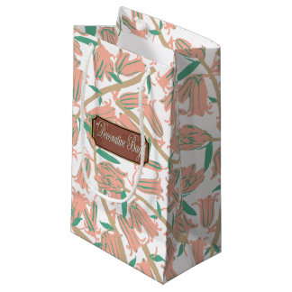 Floral Peach Blossoms Small White Gift Bag