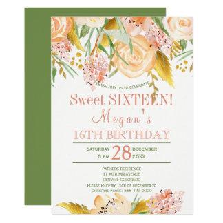 Floral peach gold fern green chic sweet sixteen card