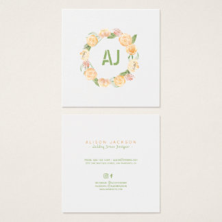 Floral peach green wreath wedding dress designer square business card