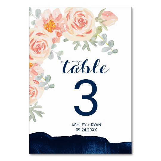 Floral Peach Pink and Navy Watercolor Table Number