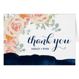 Floral Peach Pink and Navy Watercolor Thank You Card