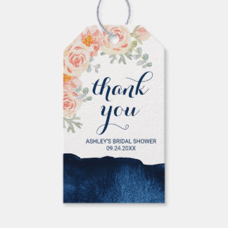 Floral Peach Pink and Navy Watercolor Thank You Gift Tags