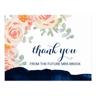Floral Peach Pink and Navy Watercolor Thank You Postcard