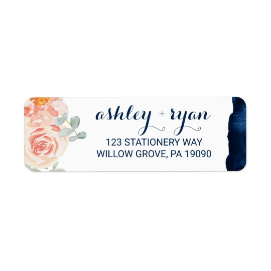 Floral Peach Pink and Navy Watercolor Wedding