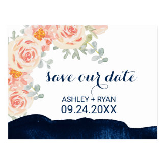 Floral Peach Pink & Navy Watercolor Save the Date Postcard