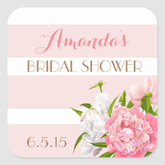 Floral Peonie Pink Bridal Shower Favor Tags