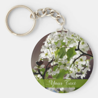 Floral Personalized Blossom Photo Basic Round Button Keychain