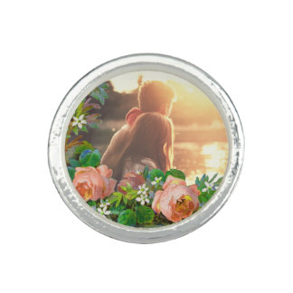 Floral personalized photo border rings