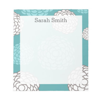 Floral Personalized Teal and Gray Notepad