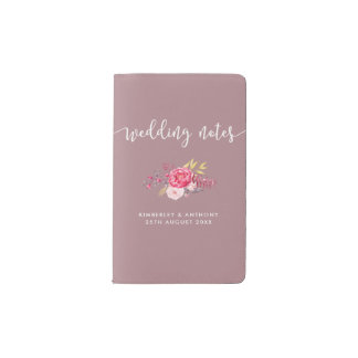 Floral Personalized Wedding Notes Pocket Moleskine Notebook
