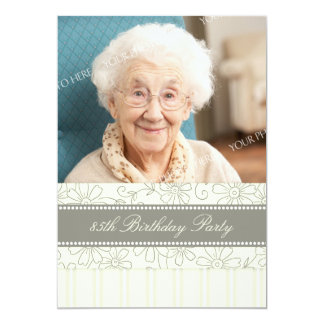 Floral Photo 85th Birthday Party Invitations