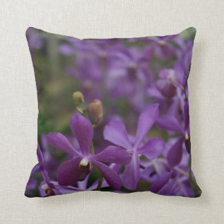 Floral Photograph: Purple Orchids in garden Throw Pillow
