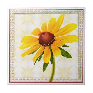 Floral Photography Black-Eyed Susan Framed Ceramic Tile
