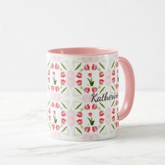 Floral Photography Pink Tulip Kaleidoscope Pattern Mug