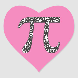 Floral Pi Symbol Stickers Pink Math Pi Day Gift