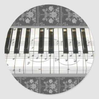 Floral Piano Keyboard Classic Round Sticker