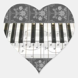 Floral Piano Keyboard Heart Sticker