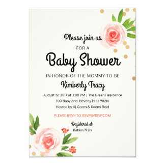 Floral Pink and Gold Baby Shower invitation
