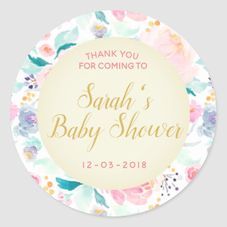Floral pink and gold baby shower sticker