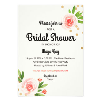 Floral Pink and Gold Bridal Shower invitation
