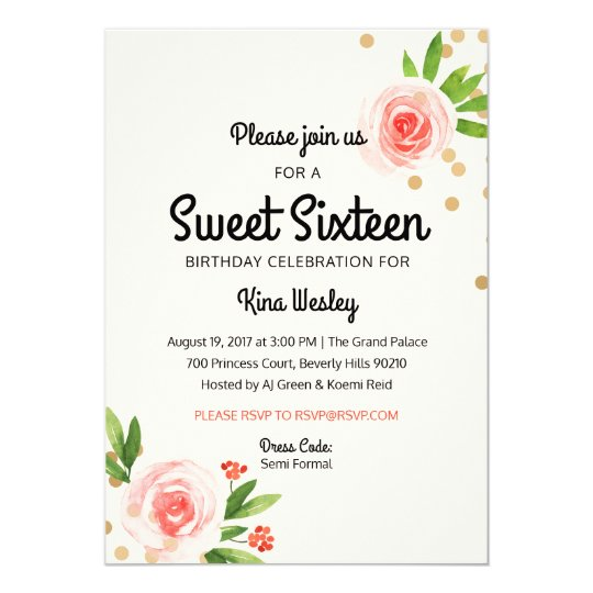 Floral Pink and Gold Sweet Sixteen invitation