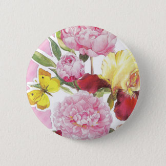 Floral Pink and Yellow Butterfly Iris Bouquet 2 Inch Round Button