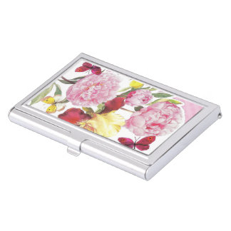 Floral Pink and Yellow Butterfly Iris Bouquet Business Card Holder