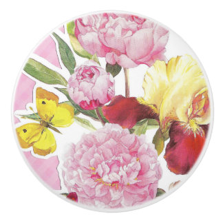 Floral Pink and Yellow Butterfly Iris Bouquet Ceramic Knob