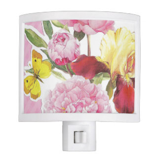 Floral Pink and Yellow Butterfly Iris Bouquet Night Lights