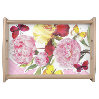 Floral Pink and Yellow Butterfly Iris Bouquet Serving Tray