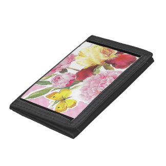 Floral Pink and Yellow Butterfly Iris Bouquet Tri-fold Wallet