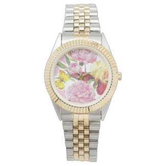 Floral Pink and Yellow Butterfly Iris Bouquet Watch