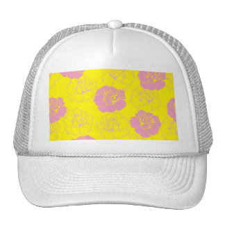 Floral pink and yellow rose pattern hats