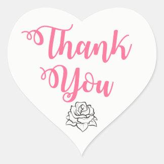 Floral Pink, Black Thank You Rose Flower Wedding Heart Sticker